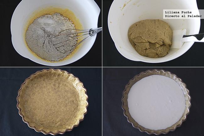 Tarta rústica de queso y grosellas con centeno