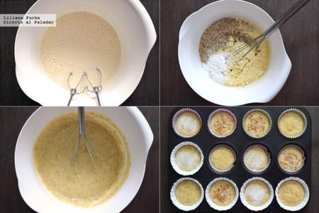 Magdalenas de canela con avellana y harina de maíz